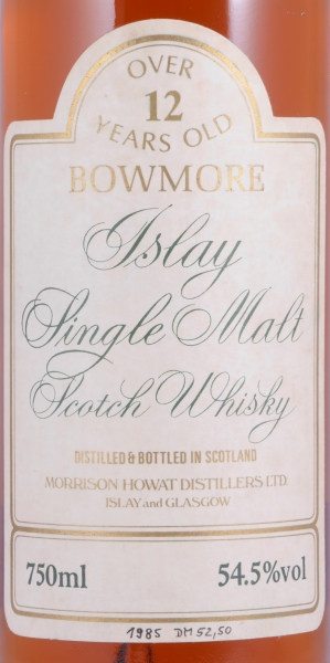 Bowmore Over 12 Years Old Islay Single Malt Scotch Whisky Gold Screw Cap Cask Strength 54,5%