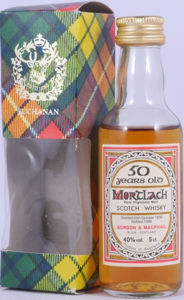Mortlach 1938 50 Years Miniature Rare Highland Single Malt Scotch Whisky Gordon and MacPhail 40.0%