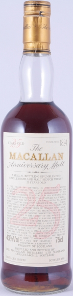 Macallan 1958/1959 25 Years The Anniversary Malt Special Bottling of Unblended Highland Single Malt Scotch Whisky 43.0%