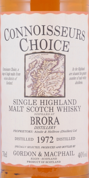 Brora 1972 20 Years Highland Single Malt Scotch Whisky Gordon and MacPhail Connoisseurs Choice Gold Screw Cap 40.0%