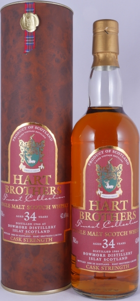 Bowmore 1966 34 Years Hart Brothers Finest Collection Islay Single Malt Scotch Whisky Cask Strength 42.6%