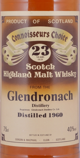 Glendronach 1960 23 Years Gordon and MacPhail Connoisseurs Choice Brown Label Highland Single Malt Scotch Whisky 40.0%