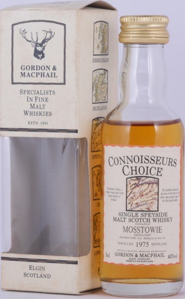 Mosstowie 1975 18 Years Gordon and MacPhail Connoisseurs Choice Miniature Speyside Single Malt Scotch Whisky 40.0%