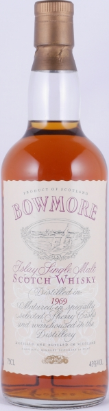 Bowmore 1969 Matured in Selected Sherry Casks Cream Seagull Label Islay Single Malt Scotch Whisky 43.0%