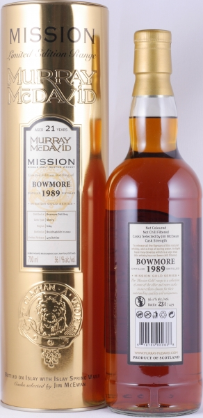 Bowmore 1989 21 Years Sherry Cask Murray McDavid Mission Gold Islay Single Malt Scotch Whisky 56.1%