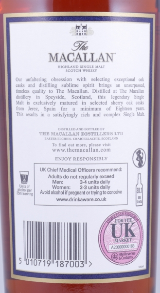 Macallan 1996 18 Years Sherry Oak Highland Single Malt Scotch Whisky 43,0%