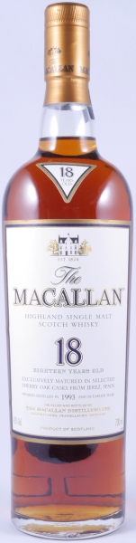 Macallan 1993 18 Years Sherry Oak Highland Single Malt Scotch Whisky 43,0%