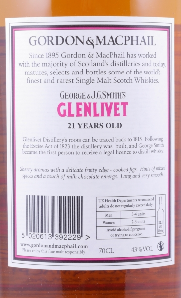 Glenlivet 21 Years Speyside Single Malt Scotch Whisky Gordon und MacPhail J.G. Smiths Label 43,0%