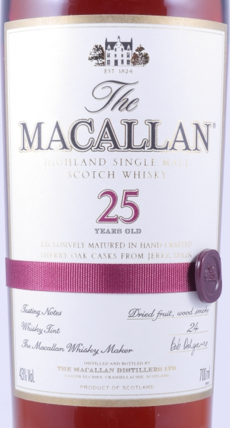 Macallan 25 Years Sherry Oak Highland Single Malt Scotch Whisky 43.0%