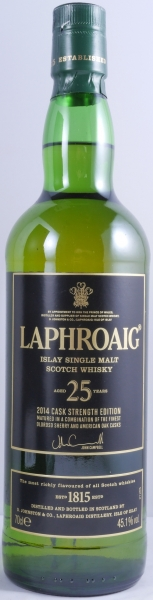 Laphroaig 25 Years Cask Strength Limited Edition 2014 Islay Single Malt Scotch Whisky 45,1%