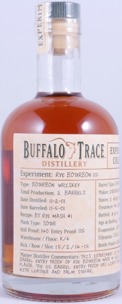 Buffalo Trace 2001 11 Years Experimental Collection Release 2014 Rye Bourbon 115 Whiskey 45,0%