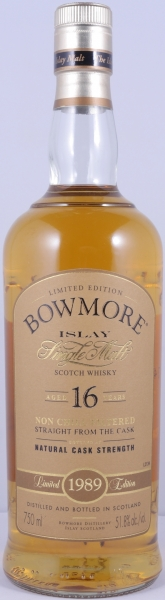 Bowmore 1989 16 Years Bourbon Cask Limited Edition Bottling Islay Single Malt Scotch Whisky Cask Strength 51,8%