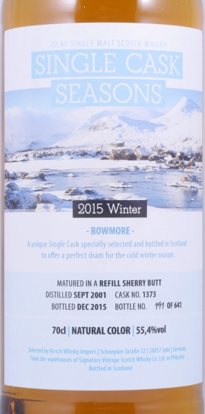 Bowmore 2001 14 Years Cask 1373 Islay Single Malt Scotch Whisky Single Cask Seasons Winter 2015 Cask Strength 55.4%