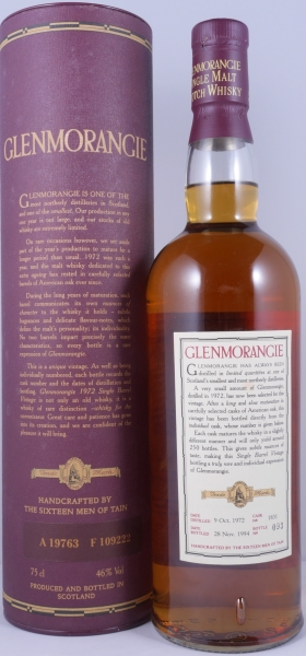 Glenmorangie 1972 22 Years Rare Single Barrel 1831 Highland Single Malt Scotch Whisky Cask Strength 46,0%