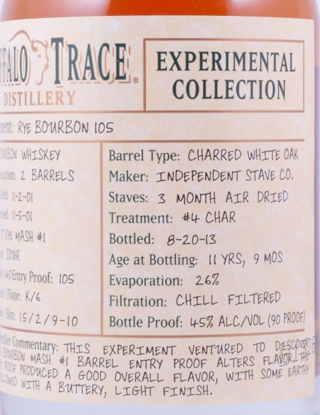 Buffalo Trace 2001 11 Years Experimental Collection Release 15 Rye Bourbon 105 Whiskey 45,0%