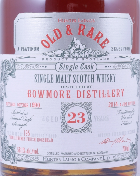Bowmore 1990 23 Years Hunter Laing Old and Rare Platinum Selection Islay Single Malt Scotch Whisky 58.1%