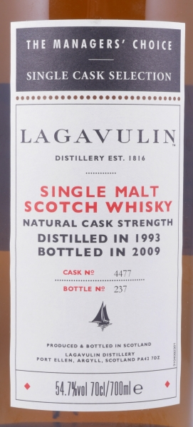 Lagavulin 1993 15 Years Managers Choice Bodega Sherry Oak Single Cask 4477 Islay Single Malt Whisky 54.7%