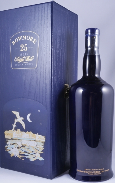 Bowmore 25 Years Moonlight Islay Single Malt Scotch Whisky Seagull Label blue Ceramic Bottle 43,0%