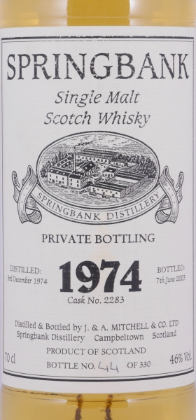 Springbank 1974 28 Years Cask 2283 Private Bottling Campbeltown Single Malt Scotch Whisky 46,0%