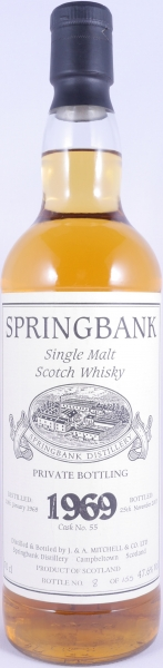 Springbank 1969 34 Years Cask 55 Private Bottling Single Malt Scotch Whisky Cask Strength 47.6%