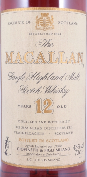 Macallan 12 Years Sherry Wood Highland Single Malt Scotch Whisky 43,0% old Bottling for Giovinetti and Figli Milano