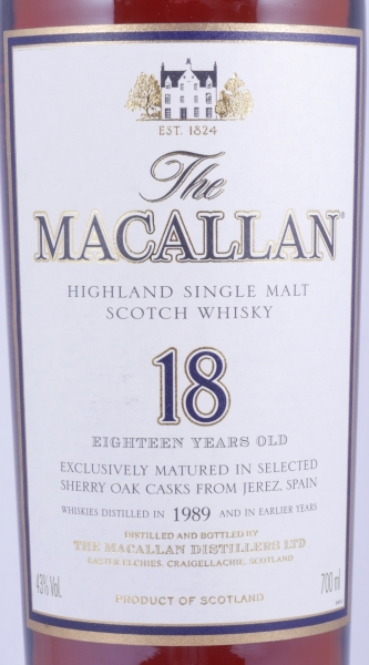 Macallan 1989 18 Years Sherry Oak Highland Single Malt Scotch Whisky 43.0%