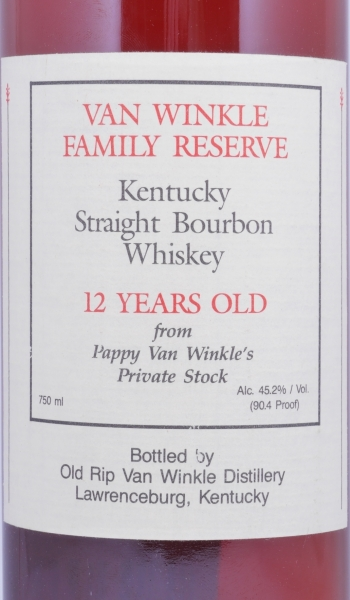 Van Winkle 12 Years Family Reserve Kentucky Straight Bourbon Whiskey Pappy van Winkles Private Stock 45.2%