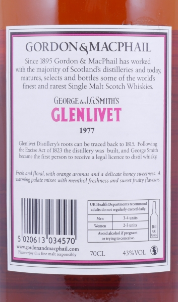 Glenlivet 1977 37 Years Speyside Single Malt Scotch Whisky Gordon and MacPhail J.G. Smiths Label 43,0%