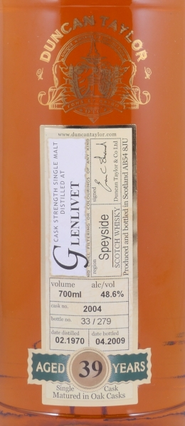 Glenlivet 1970 39 Years Cask 2004 Speyside Single Malt Scotch Whisky Duncan Taylor Cask Strength Rare Auld Edition 48.6%