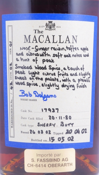 Macallan 1980 21 Years Exceptional Single Cask 3 Sherry Butt 17937 Highland Single Malt Scotch Whisky 51,0%