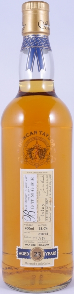 Bowmore 1982 23 Years Cask 85014 Islay Single Malt Scotch Whisky Duncan Taylor Cask Strength Rare Auld Edition 58.0%