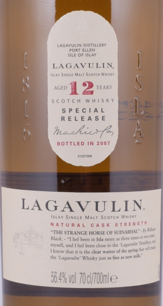 Lagavulin 1995 12 Years 7th Special Release 2007 Limited Edition Islay Single Malt Scotch Whisky Cask Strength 56.4%