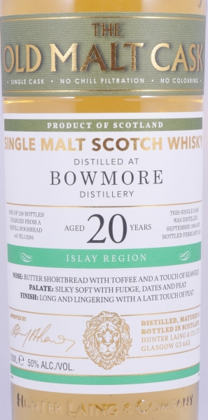 Bowmore 1996 20 Years HL13284 Islay Single Malt Scotch Whisky Hunter Laing Old Malt Cask 50,0%