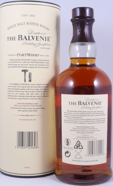 Balvenie 21 Years Port Wood Non-Chill Filtered Limited Release Highland Single Malt Scotch Whisky 47,6%