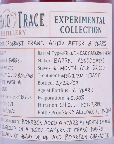 Buffalo Trace 1990 16 Years Cabernet Franc French Oak Bourbon Whiskey 4. Release 2008 Experimental Collection 45,0%