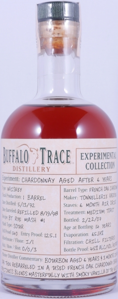 Buffalo Trace 1992 14 Years Chardonnay French Oak Bourbon Whiskey 2nd Release 2007 Experimental Collection 45.0%
