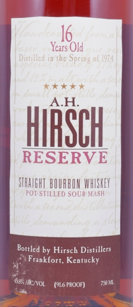 A.H. Hirsch Reserve 1974 16 Years Gold Foil Straight Bourbon Whiskey 45.8%