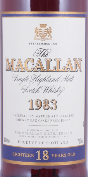 Macallan 1983 18 Years Sherry Oak Highland Single Malt Scotch Whisky 43,0%