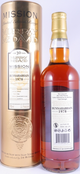 Bunnahabhain 1978 30 Years Oloroso Sherry Cask Islay Single Malt Scotch Whisky Cask Strength 53,1%