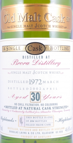 Brora 1970 30 Years Highland Single Malt Scotch Whisky 45,2% Douglas Laing Old Malt Cask bottled for Alambic Classique