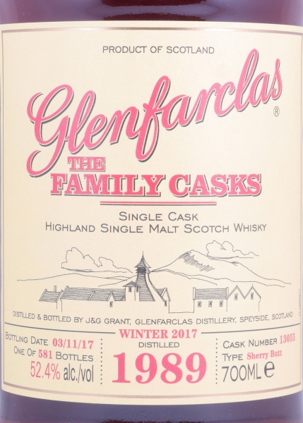 Glenfarclas 1989 27 Years The Family Casks Sherry Butt Cask 13055 Highland Single Malt Scotch Whisky 52.4%