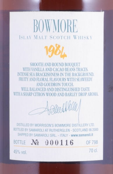 Bowmore 1984 16 Years Sherry Fino Puncheon Cask 61930 Samaroli Very Limited Edition Single Malt Scotch Whisky 45.0%