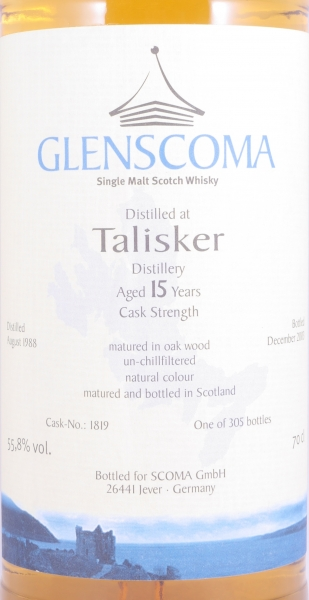 Talisker 1988 15 Years Isle of Skye Glenscoma Cask No. 1819 Single Malt Scotch Whisky Cask Strength 55.8%