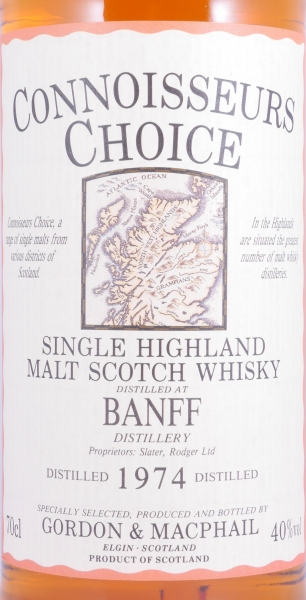 Banff 1974 20 Years Highland Single Malt Scotch Whisky Gordon und MacPhail Connoisseurs Choice Gold Screw Cap 40,0%