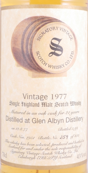 Glen Albyn 1977 21 Years Oak Cask 1951 Highland Single Malt Scotch Whisky Signatory Vintage 43,0%