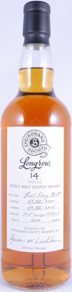 Longrow 2001 14 Years Springbank Society Fresh Sherry Butt Campbeltown Single Malt Scotch Whisky Cask Strength 53,2%