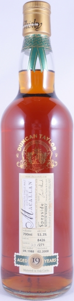 Macallan 1988 19 Years Sherry Cask 8426 Highland Single Malt Scotch Whisky Duncan Taylor Rare Auld Edition 53.3%
